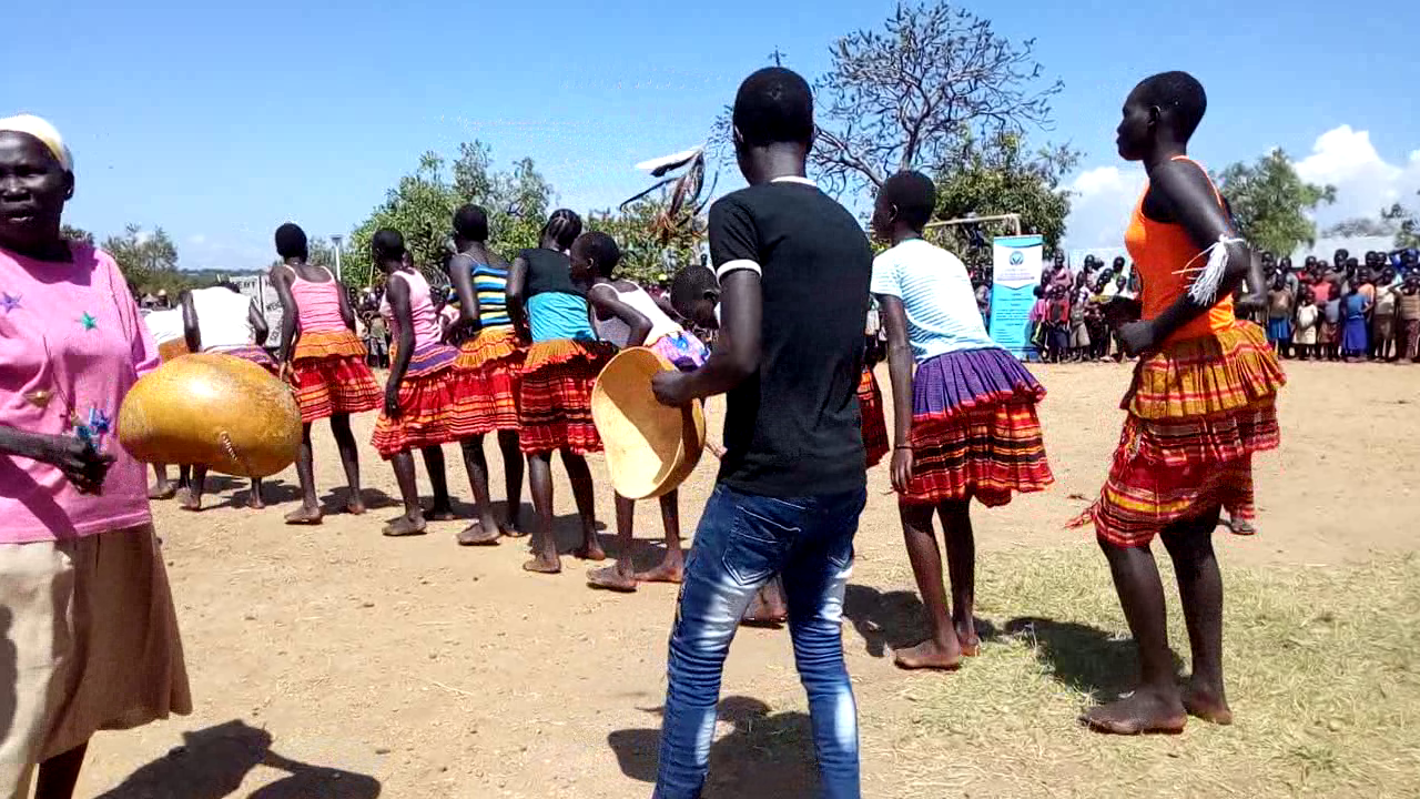 Larakaraka dance by Acholi tribe during a Cultural Gala event themed Appreciating Diversity Through Culture organized in Cluster 2, Zone 3, Bidi Bidi Refugee Settlement by CECI in 2019